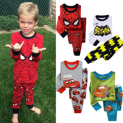 AU Kids Boy Batman Spider-man Pajamas Sleepwear 2Pcs Pyjamas Pj's Night Homewear