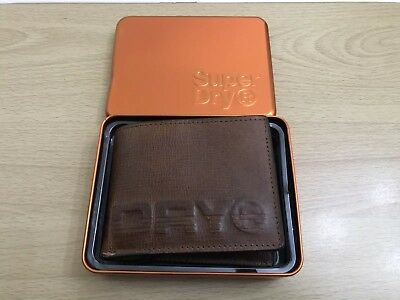 Superdry Profile Leather Wallet In A Tin - Tan BNWT