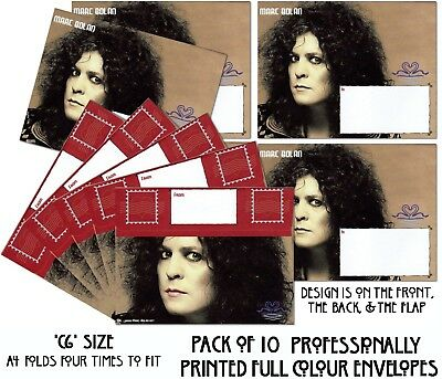 Sale - Marc Bolan Pack Of 10 Fully Printed Envelopes Free P&P On All Extra Packs
