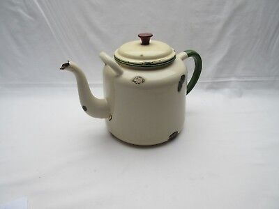 Vintage village hall large rusty cream enamel teapot for display prop use