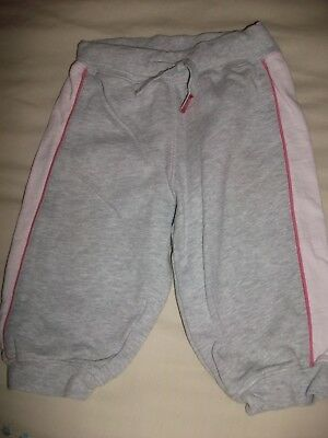 H&M Baby Girls Grey Fleece Lined Cuffed Joggers - Age 6-9 Months
