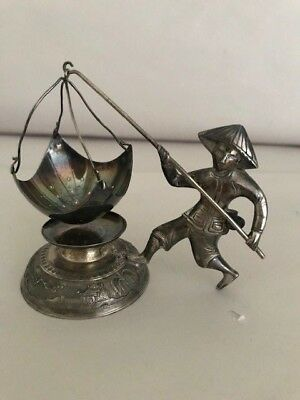 Fisherman Figurine Solid Silver 0900 tea Leaves Infusion Stainer Vietnam