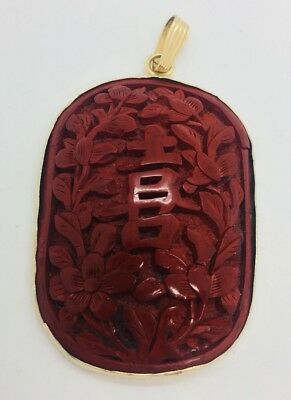 Chinese Vintage Carved Red Cinnabar & 14k Yellow Gold Pendant