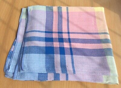 "Pretty Vintage Cotton Pastel Checked Tablecloth 45""x45"""
