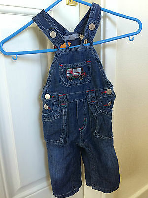 Pumpkin Patch Blue Denim Dungarees Little Bus Baby Boys 3-6 Months B14