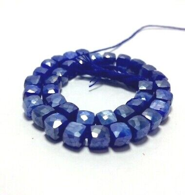 Dyed Blue Sapphire Mystic Coated AUSTRALIAN MOONSTONE Faceted Cube Loose Beads