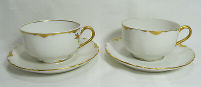 "Haviland Limoges France 2 Sets RANSON GOLD TRIM 2"" Cups & Saucers VGC"