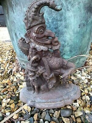 Original Victorian Mr Punch Door Stop Cast Iron