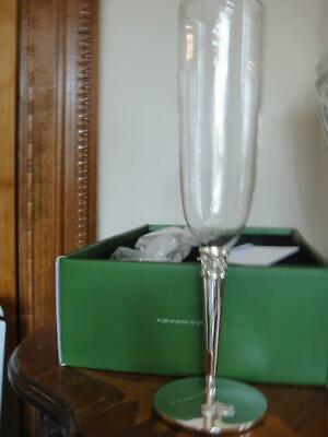 a1c277306bc Kate Spade GRACE AVENUE Champagne Flute Pair Silverplate Bow & Stem New.