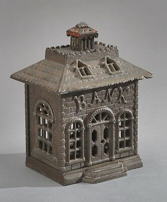 Vintage Cast Iron Bank Building Still Coin Bank