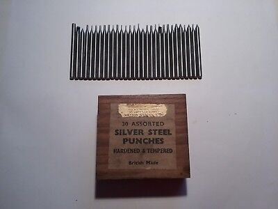30 Assorted British Made Vintage Hardened & Tempered Silver Steel Punches In Box