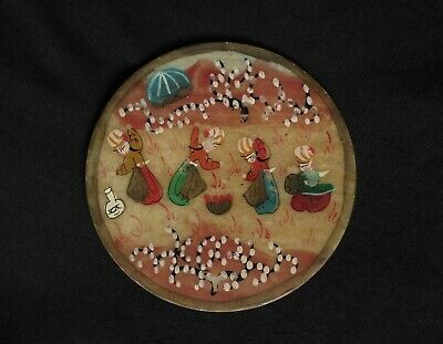 Persian Handpainted Old Scene Natural Alabaster Stone Mini Plate. Vintage!