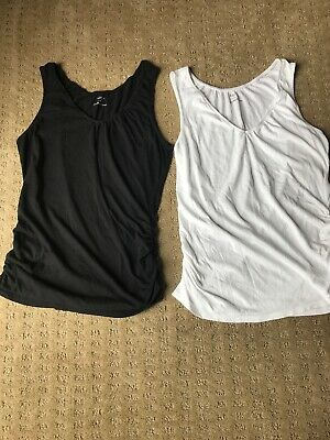 84c77b8159ce6 2 Motherhood Maternity Nursing Tank Tops - Size Medium - Black & White