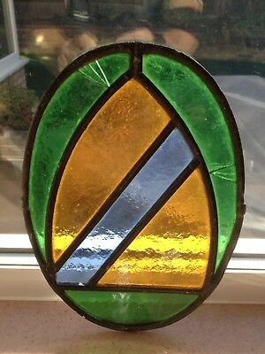 Antique Stained Glass Window Leaded Oval Panel Old Victorian  Light Catcher