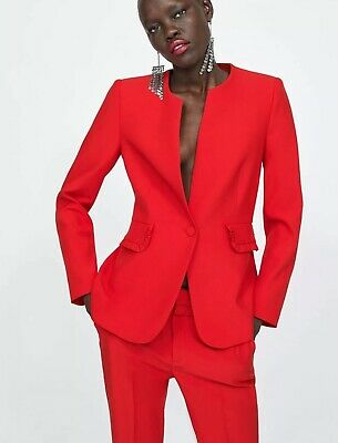 d69769d3 ZARA CO ORD Red Suit Blazer And Trousers SIZE UK M U.K. 10