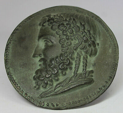 Ancient Roman Bearded Man with Laurel Wreath Large Bronze Medal
