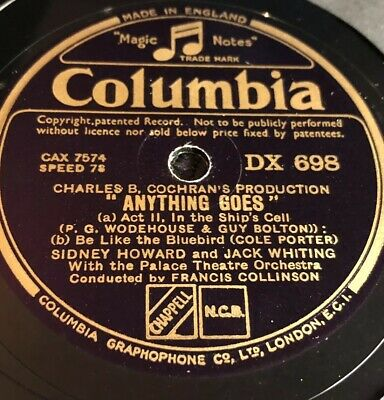 Anything Goes – Howard / Whiting / Aubert [78Rpm] Columbia Dx698 (Ex Cond)
