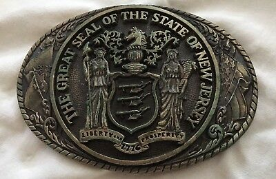Vintage Rare Tony Lama *GREAT STATE OF NEW JERSEY* 1st Edition Brass BELT BUCKLE