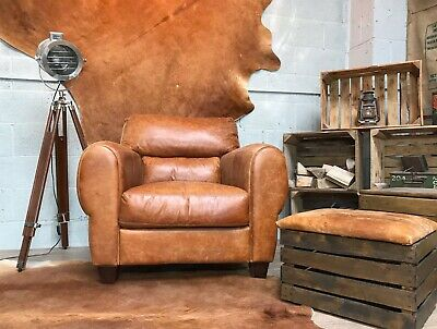 Chunky Leather Vintage Armchair Tan Brown