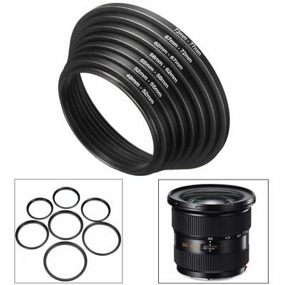 7pcs Step Up Down Ring For DSLR Camera 49mm to 77mm Black Aluminum Cap Hood