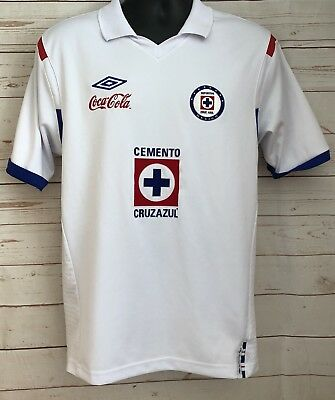 277677fe8 Umbro Mens Cemento Cruz Azul Coca Cola Tailored Soccer White Jersey Size  Large