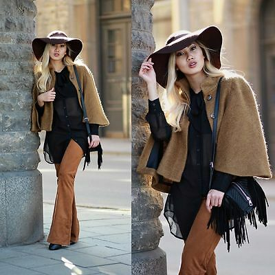 041f9878 TWICE WORN ZARA Tan Brown Camel Cape Coat Jacket S Small Uk 8 10 Us ...