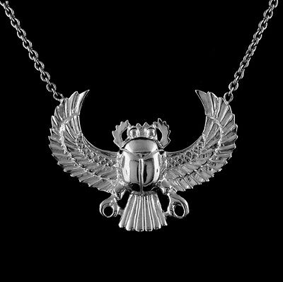 14K White Gold Egyptian Scarab Scarabeaus Amulet Necklace Pendant