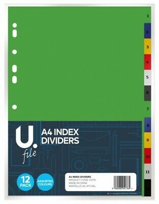 A4 Extra Wide Numbered 1-12 Monthly Index Tab Subject Dividers Ring Binder File