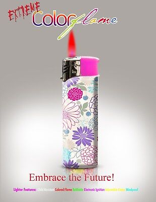Color Flame Fire Butane Colorflame Torch Red Flame 420 Lighter Pink Wild Flower