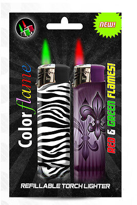 Color Flame Fire Butane Colorflame Zebra Torch Lighters Green & Red Flames
