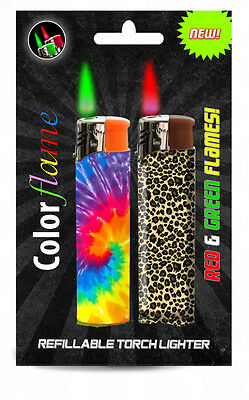 Color Flame Fire Butane Colorflame Tie Tye Dye Torch Lighters Green & Red Flames