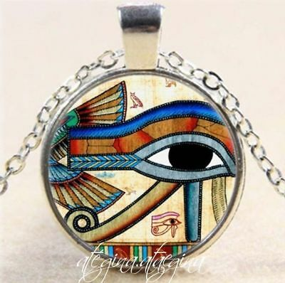 Egyptian Eye of Horus Glass Dome Pendant Silver Colour Necklace & Chain