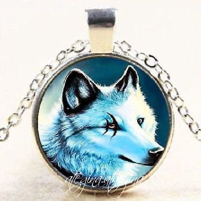 Marked Eye Wolf Glass Dome Pendant Silver Colour Necklace & Chain