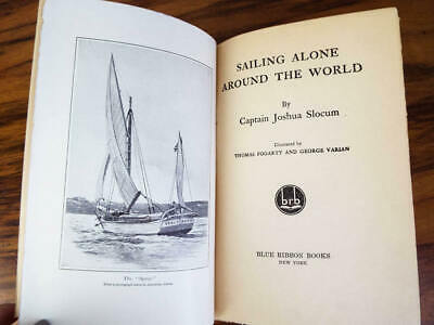 Antique 1900 Sailing Around the World Book by Captain Joshua Slocum Blue Ribbon