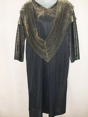 1980's Vintage Long Sleeved Metallic Look Dress with Cowl Neck.