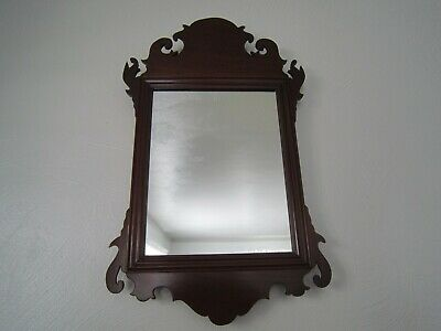 "Solid Mahogany CHIPPENDALE STYLE WALL MIRROR 11.5"" x  19""  Williamsburg"