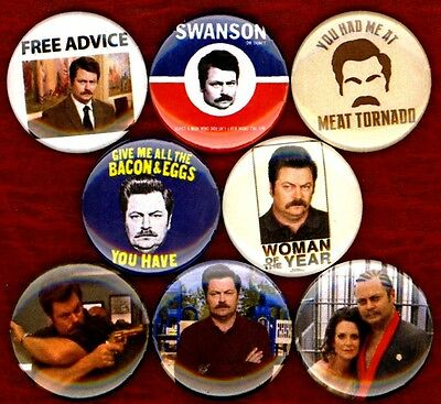 """Ron Swanson 8 NEW 1"""" buttons pins badges parks and REC recreation bacon meat"""