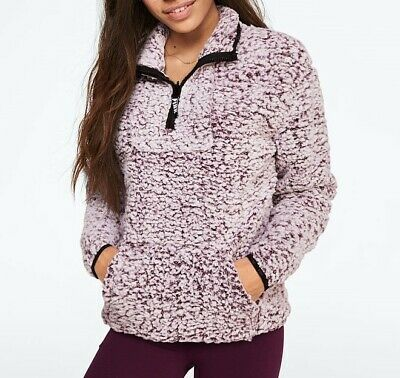 Activewear Precise Victoria Secret Pink Sherpa Quarter Zip Hoodie Ultimate Fleece Leggings Set L