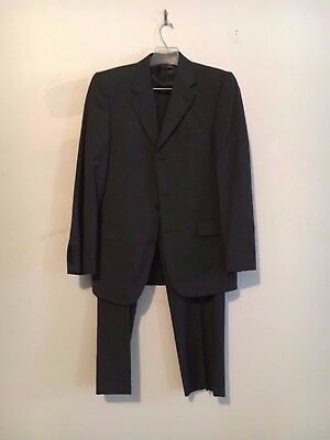 Zara Men Gray 3 Button Suit Modern 2 Side Slit Slim Jacket 38 Pant 32 Formal