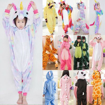 Kids Girls Boys Unicorn Animals Kigurumi Cosplay Costume PJ's Sleepwear Overalls