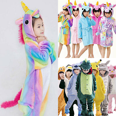 Kids Girls Sleepwear Unicorn Kigurumi Cosplay Costume Nightwear Bathrobe Pajamas