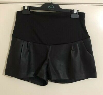 Ladies BELLYWEAR Maternity Faux Leather Shorts. Size S. EUC