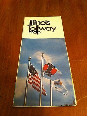 1978 Illinois Tollway Map State Toll Highway Authority Vintage Road Hiway Old IL