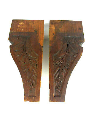 2 Vtg Wood Architectural Salvage Carved Wood Corbel Pediment 19 inch each