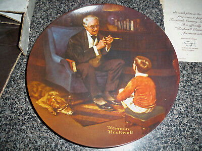 "Edwin M Knowles China Norman Rockwell Plate ""The Tycoon"""
