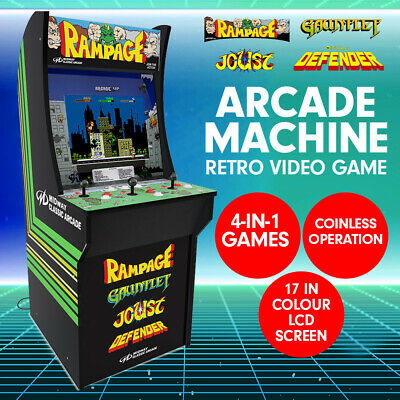 4-in-1 Arcade Game Machine Rampage Gaming Console Cabinet Arcade1UP 17in Screen