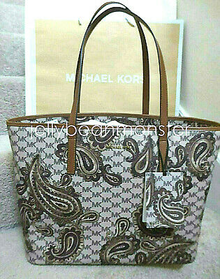 bea1a58f0c836c MICHAEL KORS Paisley Emry Large Top Zip L Tote Shoulder Bag Luggage Brown  New