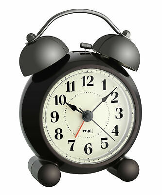 NEW Double Bell Electronic Alarm Clock with Backlightin Black