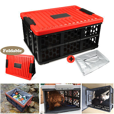 28L Folding Collapsible Plastic Storage Container Boxes Heavy Duty Basket