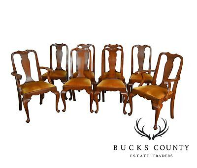 Henkel Harris Solid Cherry Set of 8 Queen Anne Style Dining Chairs